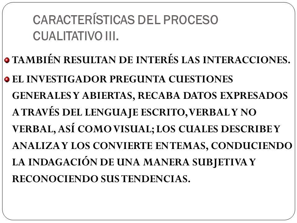 CARACTERÍSTICAS DEL PROCESO CUALITATIVO III.