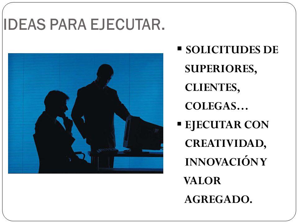 IDEAS PARA EJECUTAR. SOLICITUDES DE SUPERIORES, CLIENTES, COLEGAS…