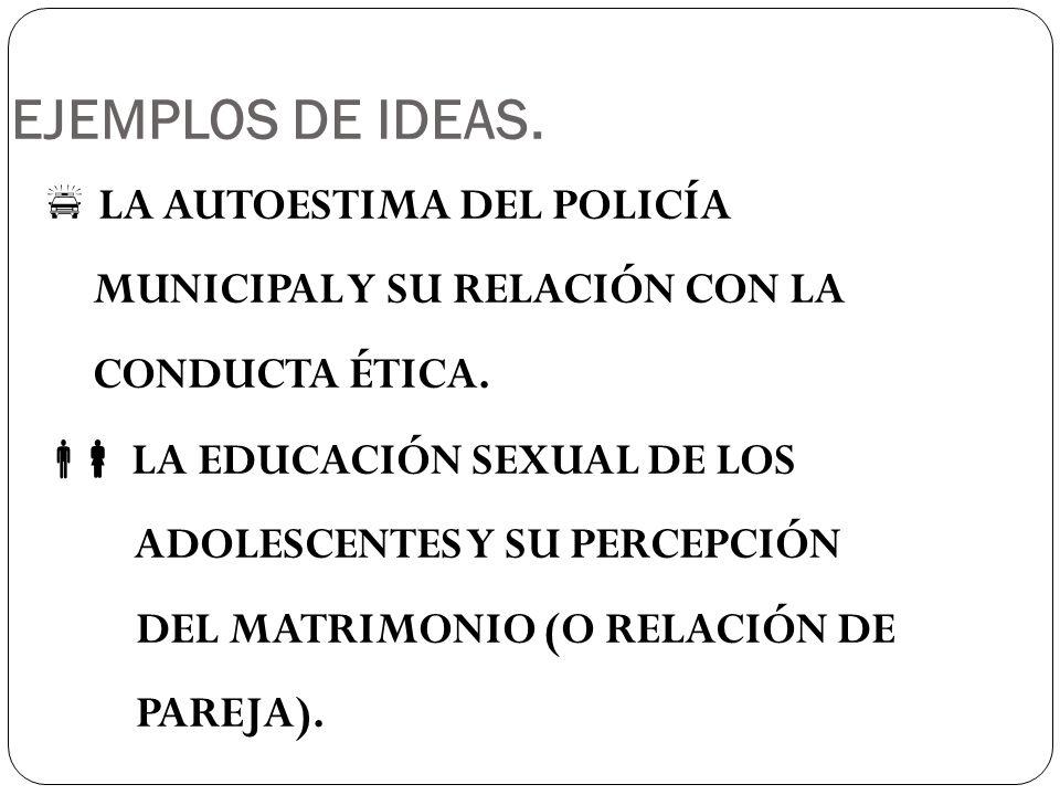 EJEMPLOS DE IDEAS. LA AUTOESTIMA DEL POLICÍA