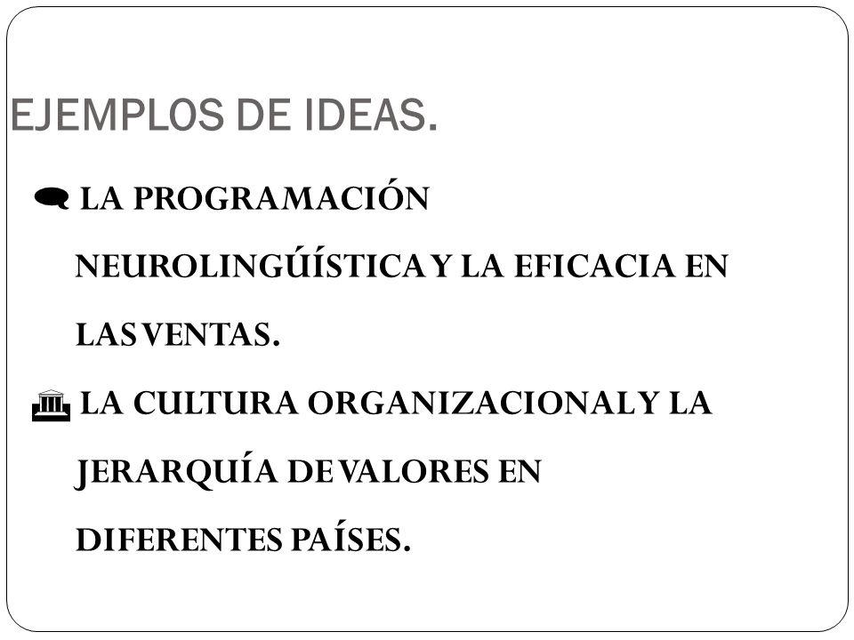 EJEMPLOS DE IDEAS. LA PROGRAMACIÓN NEUROLINGÚÍSTICA Y LA EFICACIA EN