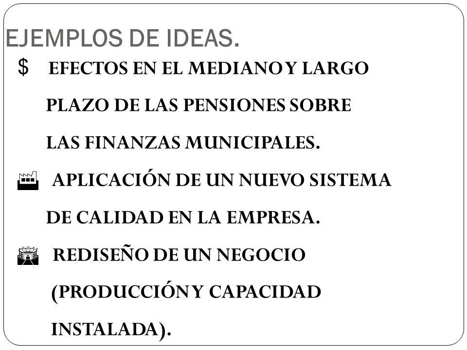 EJEMPLOS DE IDEAS. EFECTOS EN EL MEDIANO Y LARGO