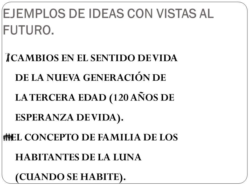 EJEMPLOS DE IDEAS CON VISTAS AL FUTURO.