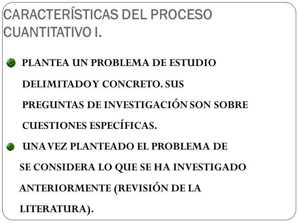 CARACTERÍSTICAS DEL PROCESO CUANTITATIVO I.