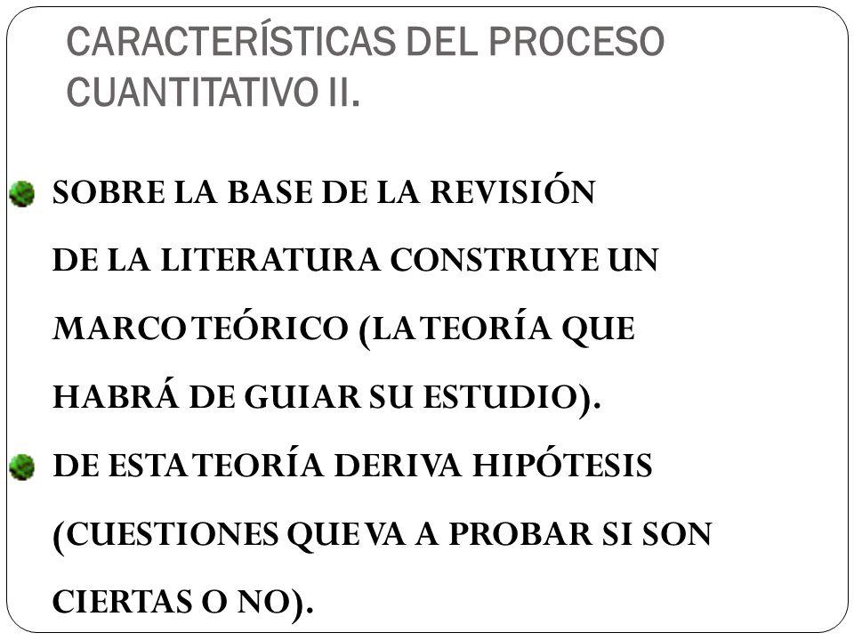 CARACTERÍSTICAS DEL PROCESO CUANTITATIVO II.