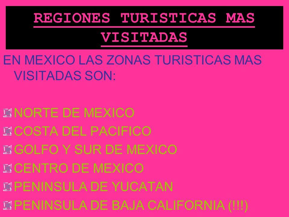 REGIONES TURISTICAS MAS VISITADAS