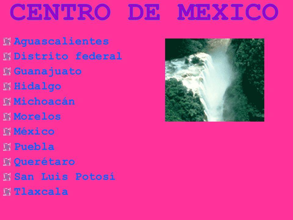 CENTRO DE MEXICO Aguascalientes Distrito federal Guanajuato Hidalgo