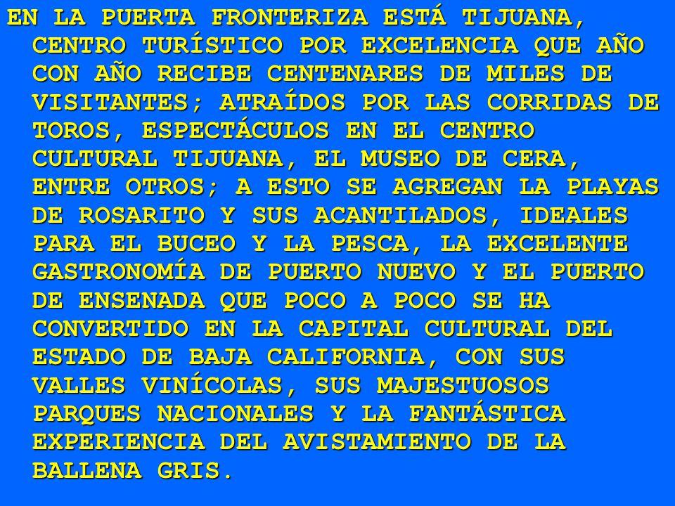 EN LA PUERTA FRONTERIZA ESTÁ TIJUANA, CENTRO TURÍSTICO POR EXCELENCIA QUE AÑO CON AÑO RECIBE CENTENARES DE MILES DE VISITANTES; ATRAÍDOS POR LAS CORRIDAS DE TOROS, ESPECTÁCULOS EN EL CENTRO CULTURAL TIJUANA, EL MUSEO DE CERA, ENTRE OTROS; A ESTO SE AGREGAN LA PLAYAS DE ROSARITO Y SUS ACANTILADOS, IDEALES PARA EL BUCEO Y LA PESCA, LA EXCELENTE GASTRONOMÍA DE PUERTO NUEVO Y EL PUERTO DE ENSENADA QUE POCO A POCO SE HA CONVERTIDO EN LA CAPITAL CULTURAL DEL ESTADO DE BAJA CALIFORNIA, CON SUS VALLES VINÍCOLAS, SUS MAJESTUOSOS PARQUES NACIONALES Y LA FANTÁSTICA EXPERIENCIA DEL AVISTAMIENTO DE LA BALLENA GRIS.