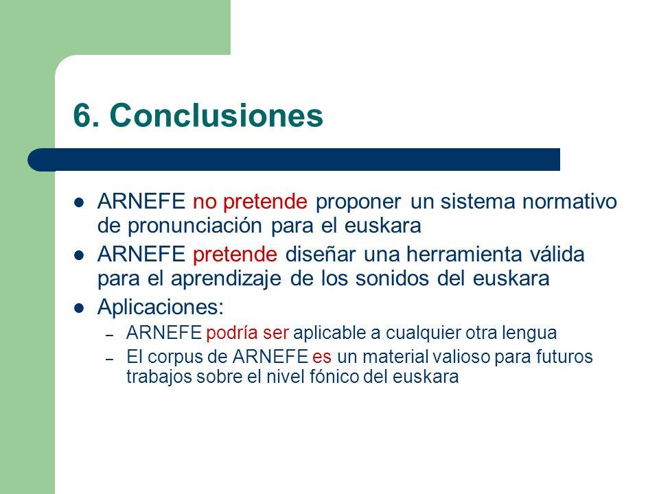 6. Conclusiones ARNEFE no pretende proponer un sistema normativo de pronunciación para el euskara.
