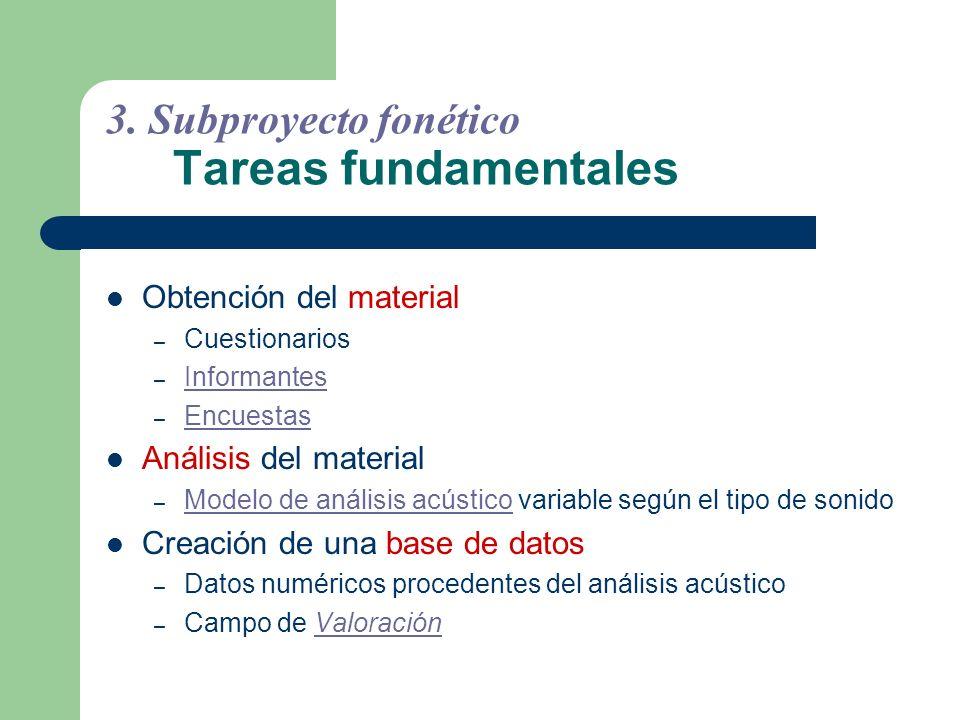 3. Subproyecto fonético Tareas fundamentales
