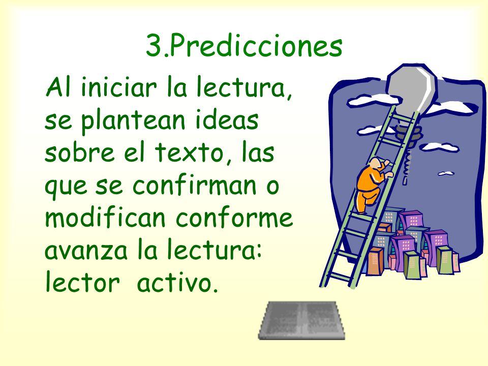3.Predicciones Al iniciar la lectura, se plantean ideas sobre el texto, las que se confirman o modifican conforme avanza la lectura: lector activo.