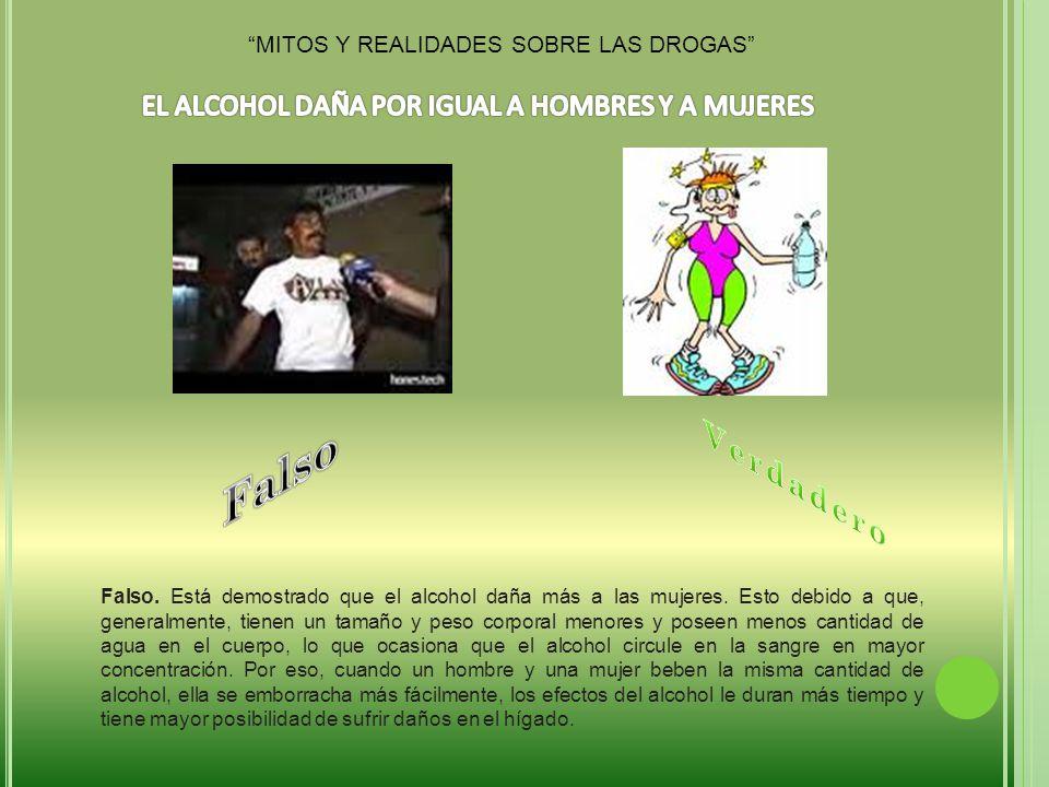 Falso Verdadero EL ALCOHOL DAÑA POR IGUAL A HOMBRES Y A MUJERES