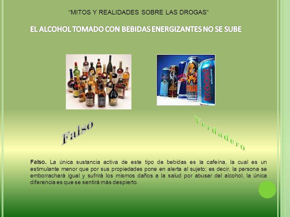 Falso Verdadero EL ALCOHOL TOMADO CON BEBIDAS ENERGIZANTES NO SE SUBE