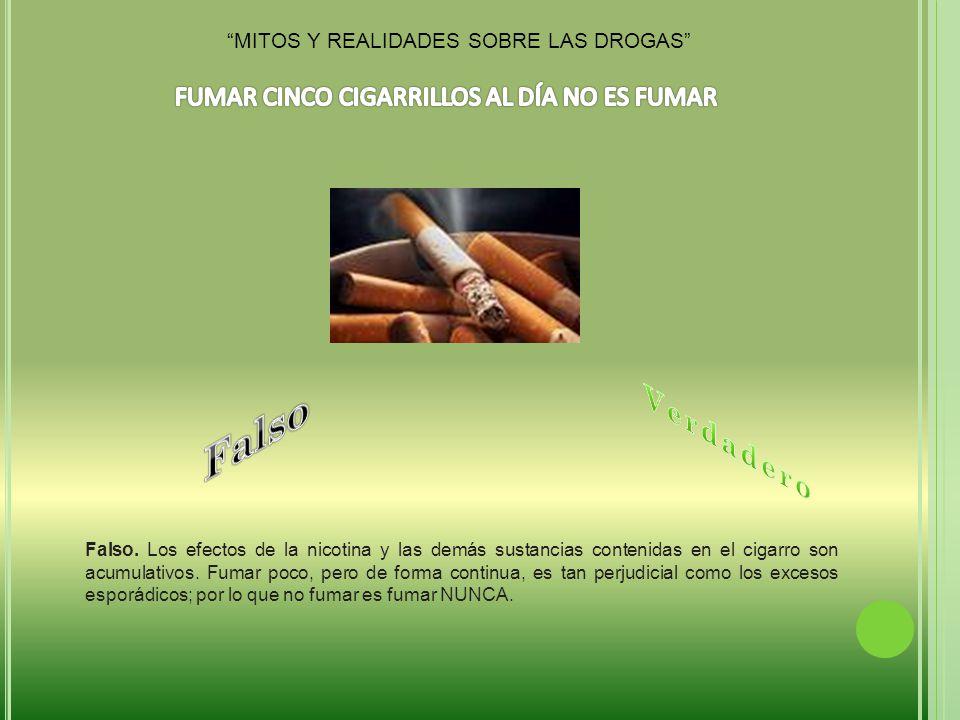 Falso Verdadero FUMAR CINCO CIGARRILLOS AL DÍA NO ES FUMAR