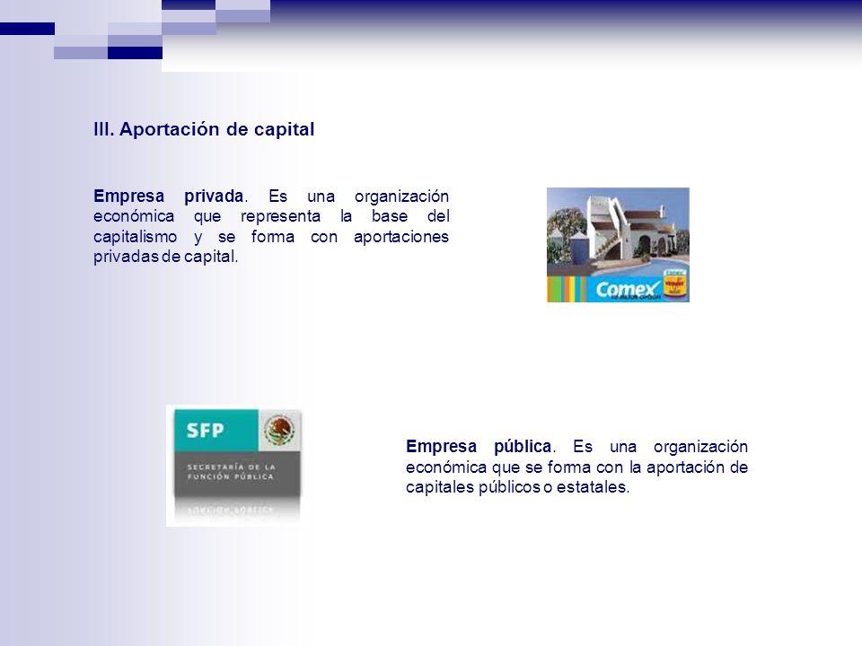 III. Aportación de capital