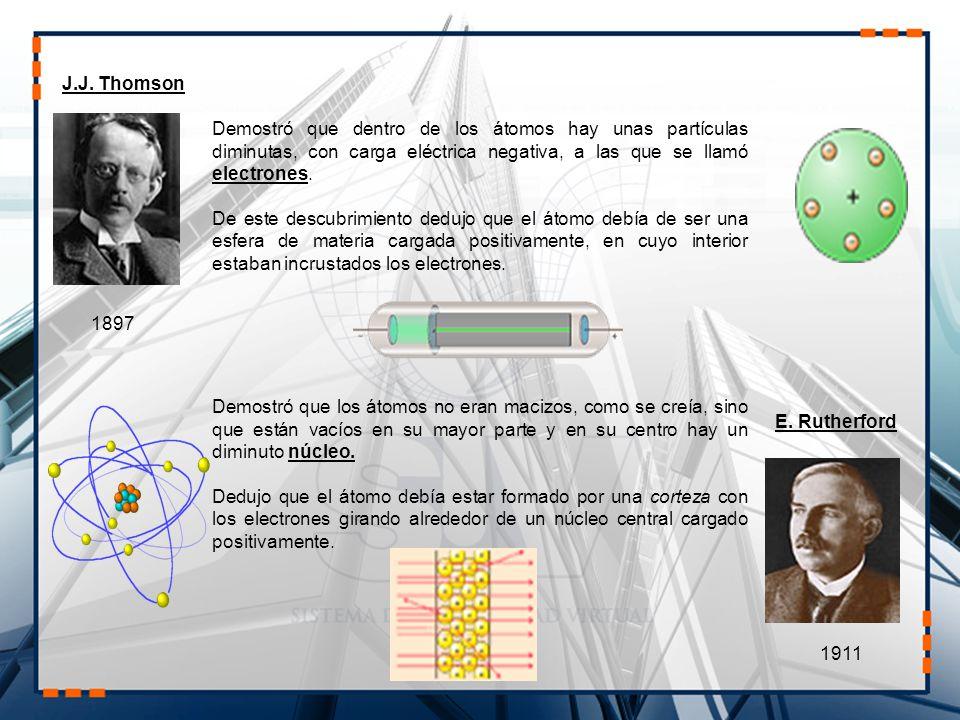 J.J. Thomson Demostró que dentro de los átomos hay unas partículas diminutas, con carga eléctrica negativa, a las que se llamó electrones.