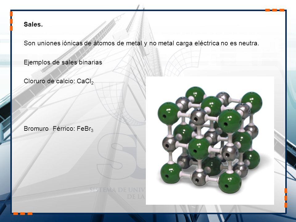 Sales. Son uniones iónicas de átomos de metal y no metal carga eléctrica no es neutra. Ejemplos de sales binarias.