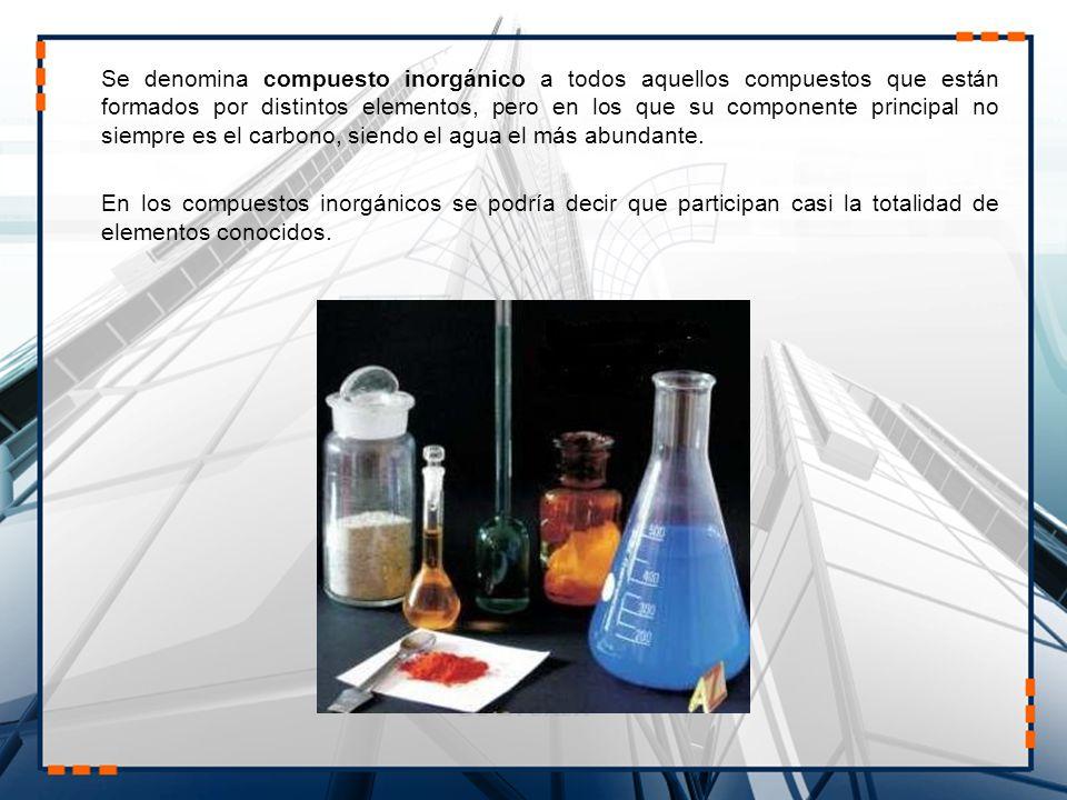 Se denomina compuesto inorgánico a todos aquellos compuestos que están formados por distintos elementos, pero en los que su componente principal no siempre es el carbono, siendo el agua el más abundante.