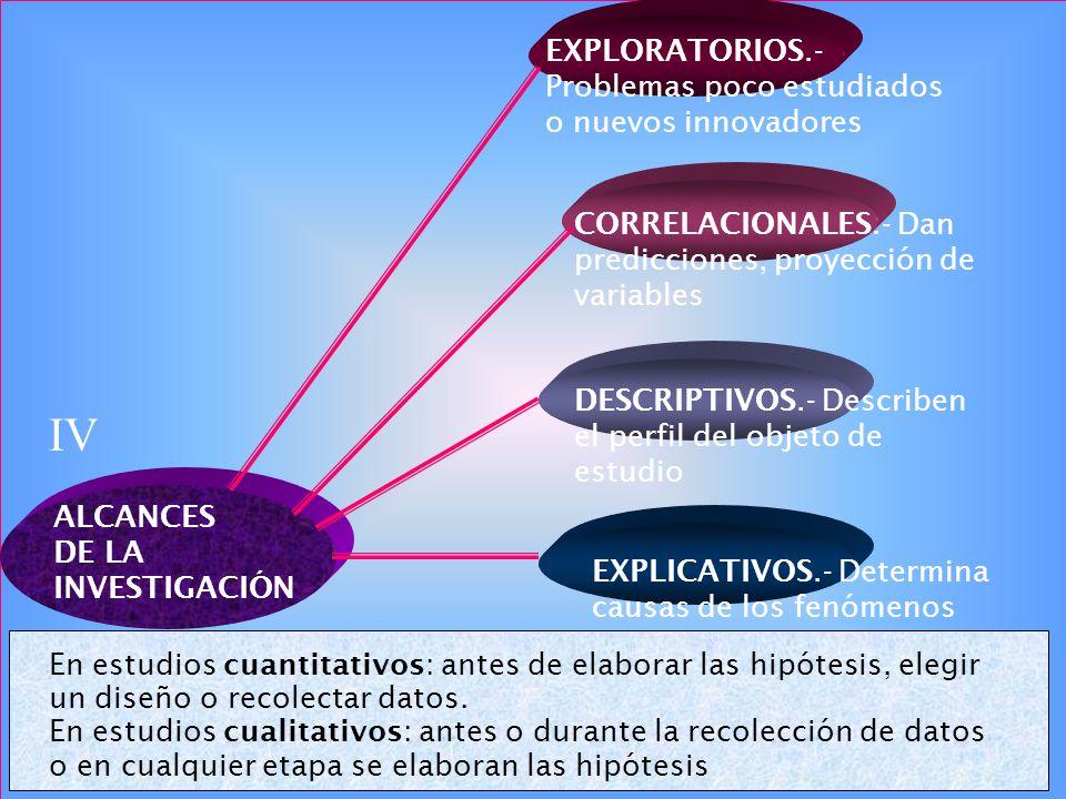 IV EXPLORATORIOS.-Problemas poco estudiados o nuevos innovadores