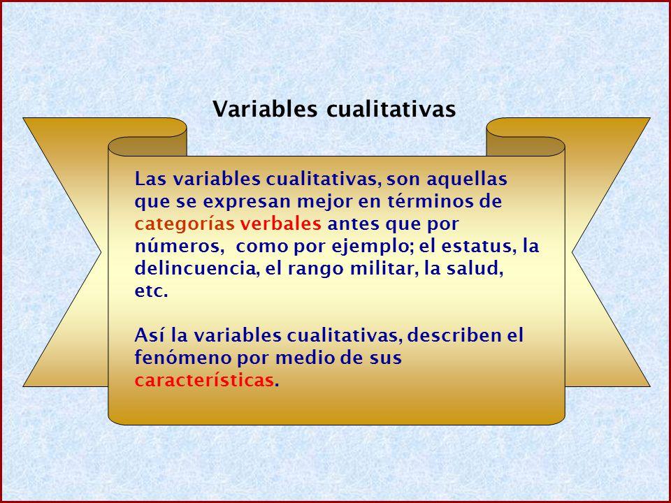 Variables cualitativas Las variables cualitativas, son aquellas que se expresan mejor en términos de categorías verbales antes que por números, como por ejemplo; el estatus, la delincuencia, el rango militar, la salud, etc.