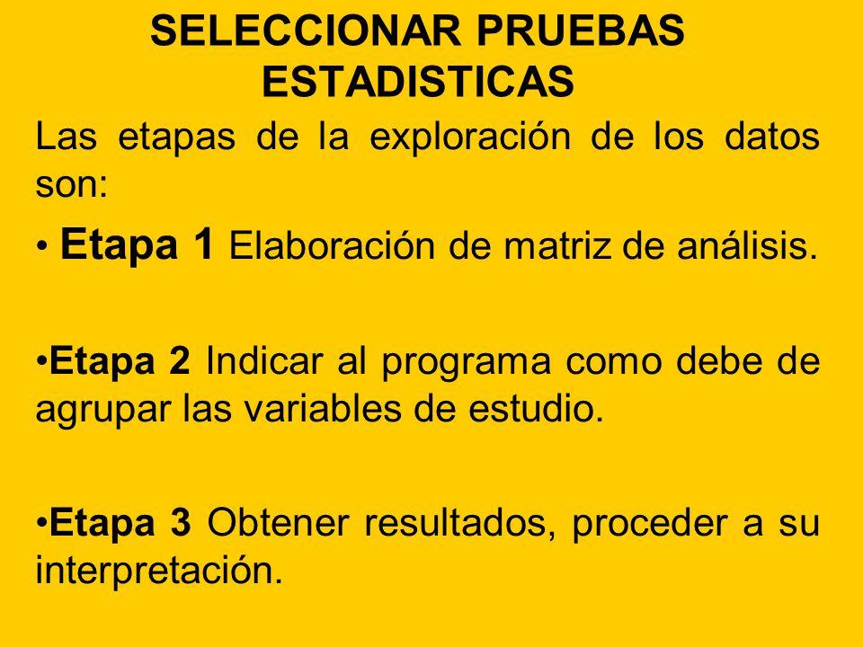 SELECCIONAR PRUEBAS ESTADISTICAS