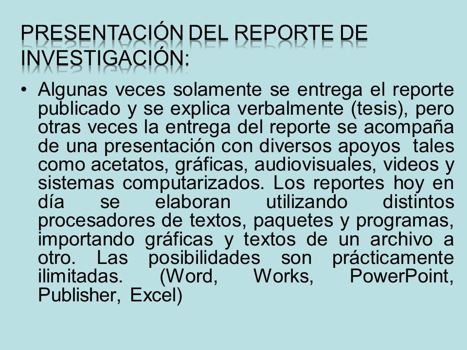 PRESENTACIÓN DEL REPORTE DE INVESTIGACIÓN:
