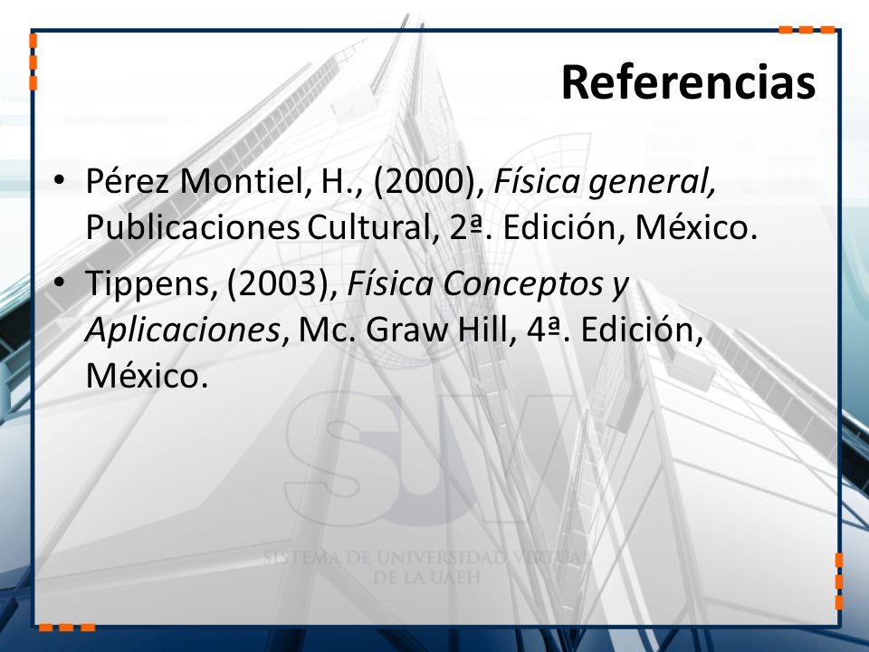 Referencias Pérez Montiel, H., (2000), Física general, Publicaciones Cultural, 2ª. Edición, México.