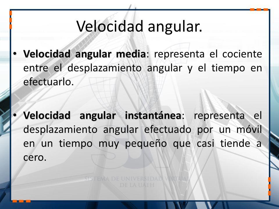 Velocidad angular. Velocidad angular media: representa el cociente entre el desplazamiento angular y el tiempo en efectuarlo.