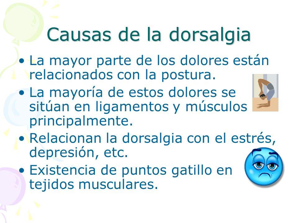 Causas de la dorsalgia La mayor parte de los dolores están relacionados con la postura.