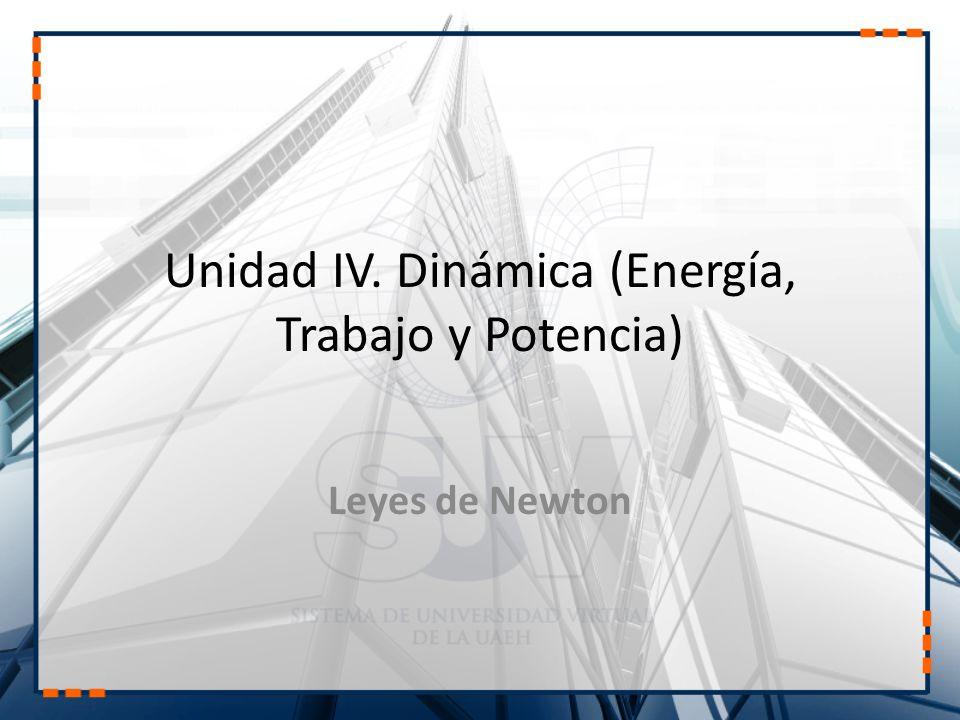 Unidad IV. Dinámica (Energía, Trabajo y Potencia)