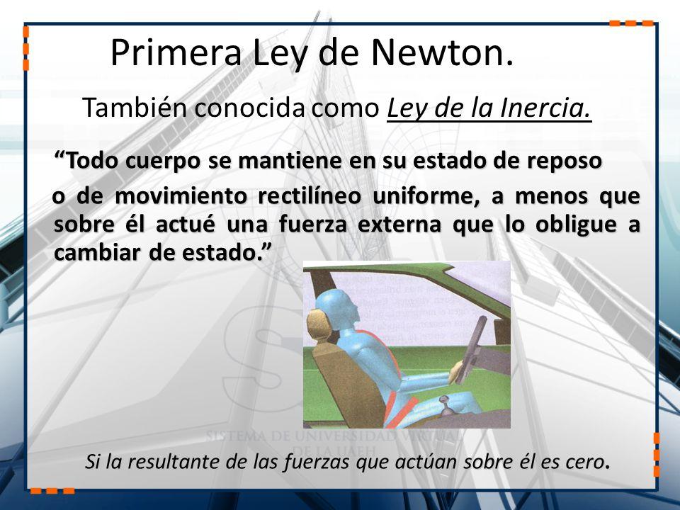 Primera Ley de Newton. También conocida como Ley de la Inercia.