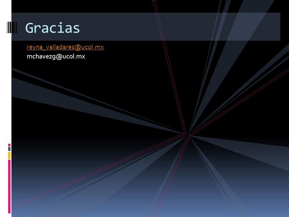 Gracias reyna_valladares@ucol.mx mchavezg@ucol.mx
