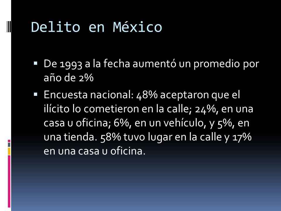 Delito en México De 1993 a la fecha aumentó un promedio por año de 2%