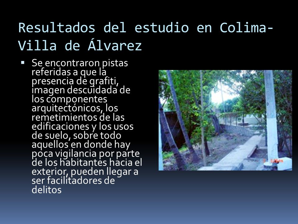 Resultados del estudio en Colima-Villa de Álvarez