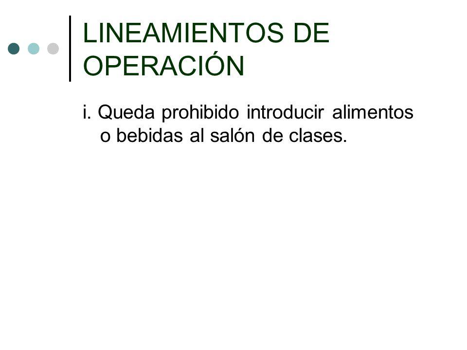 LINEAMIENTOS DE OPERACIÓN