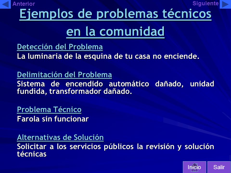 Ejemplos de problemas técnicos en la comunidad