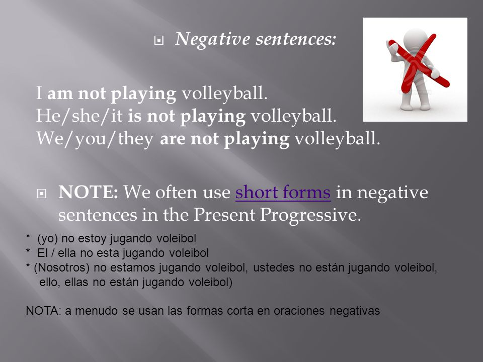 Negative sentences: I am not playing volleyball. He/she/it is not playing volleyball. We/you/they are not playing volleyball.