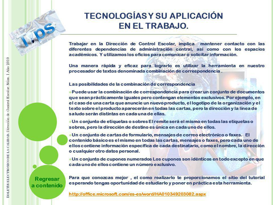 TECNOLOGÍAS Y SU APLICACIÓN EN EL TRABAJO.