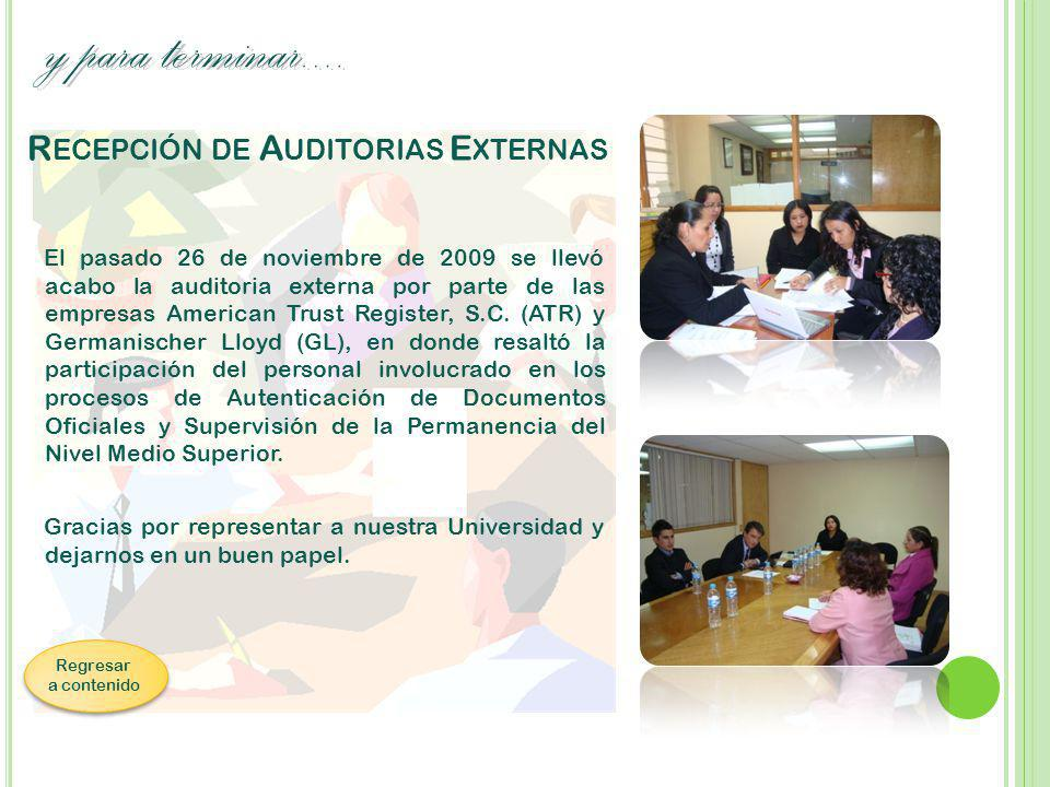 Recepción de Auditorias Externas