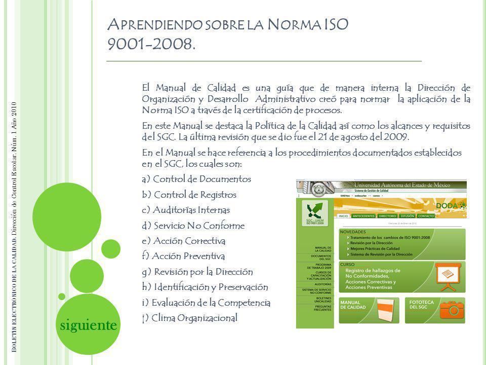 Aprendiendo sobre la Norma ISO 9001-2008.