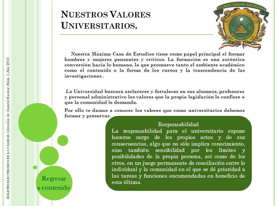 Nuestros Valores Universitarios.