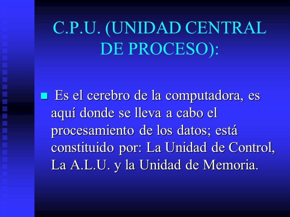 C.P.U. (UNIDAD CENTRAL DE PROCESO):
