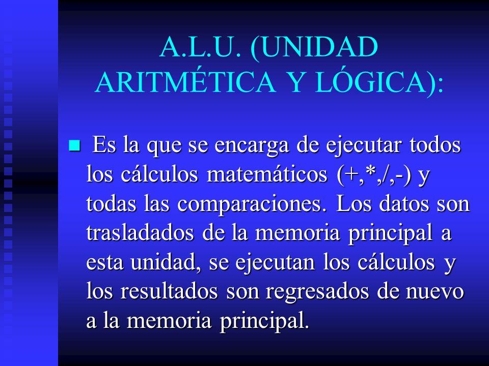 A.L.U. (UNIDAD ARITMÉTICA Y LÓGICA):