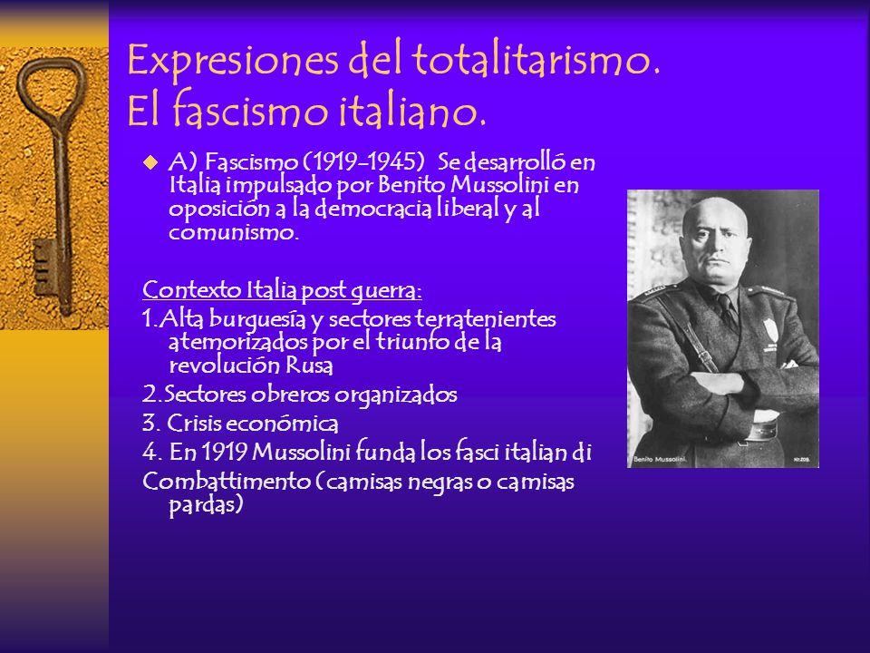 Expresiones del totalitarismo. El fascismo italiano.