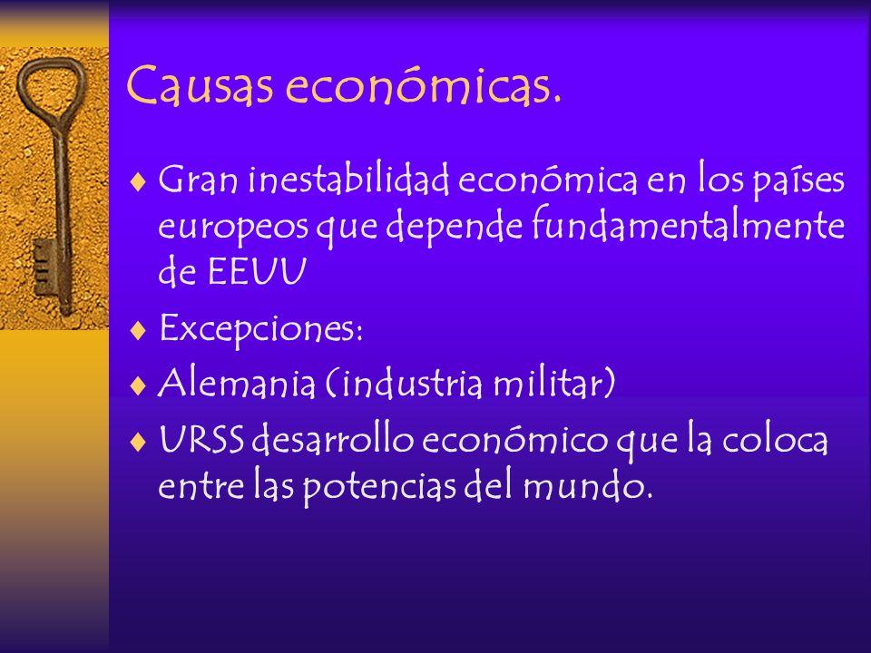 Causas económicas. Gran inestabilidad económica en los países europeos que depende fundamentalmente de EEUU.