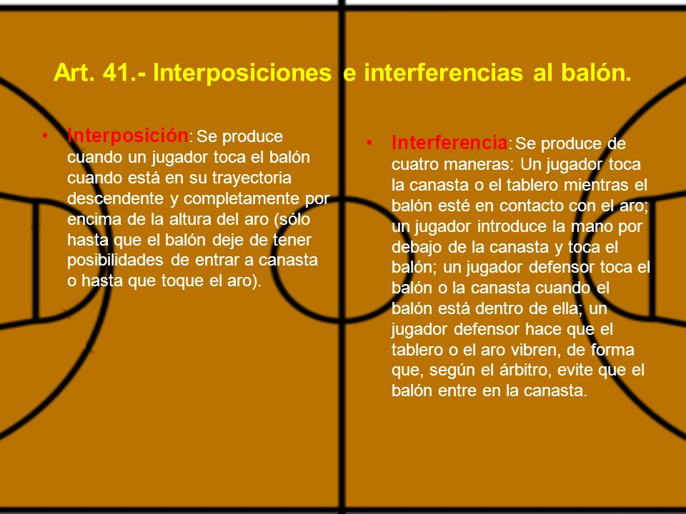 Art. 41.- Interposiciones e interferencias al balón.