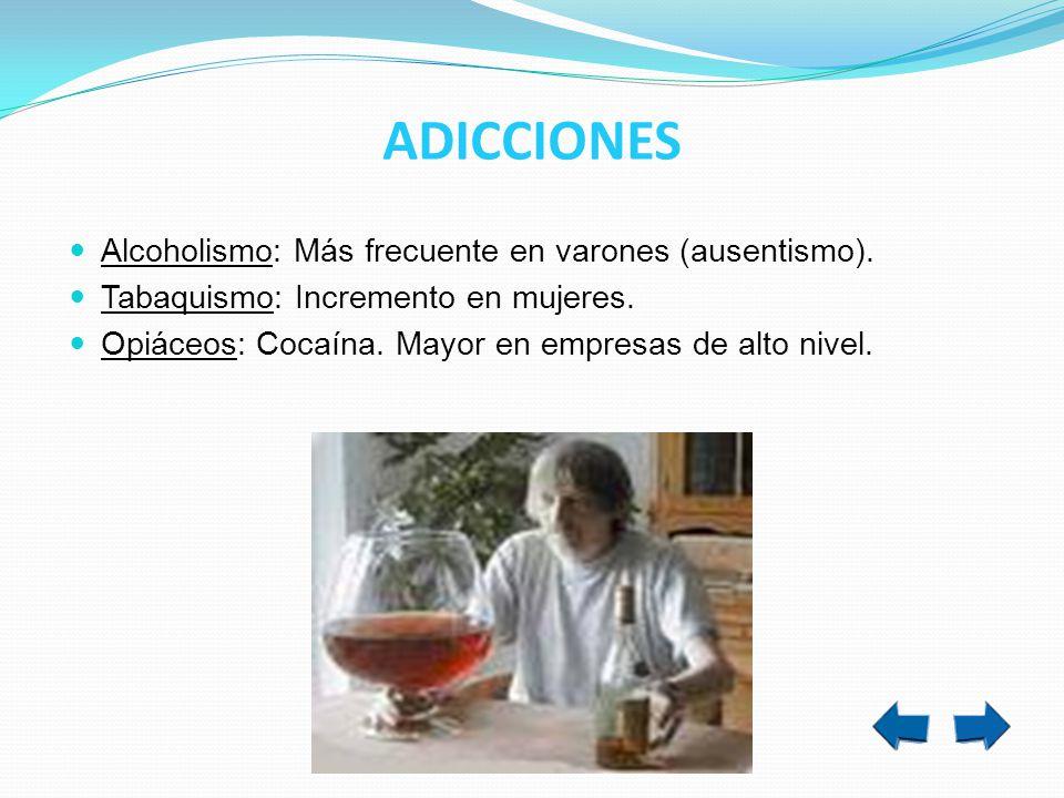 ADICCIONES Alcoholismo: Más frecuente en varones (ausentismo).
