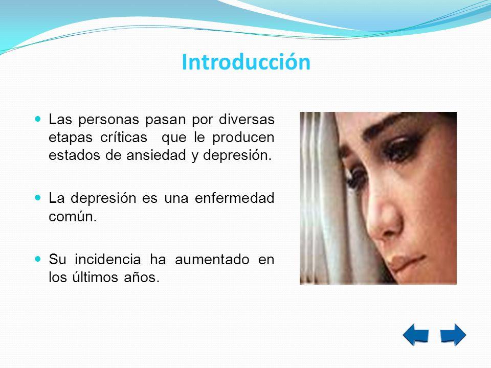 Introducción Las personas pasan por diversas etapas críticas que le producen estados de ansiedad y depresión.