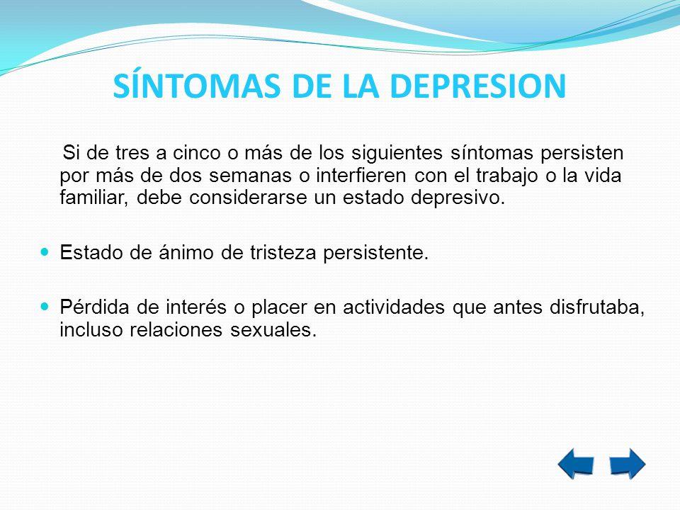 SÍNTOMAS DE LA DEPRESION