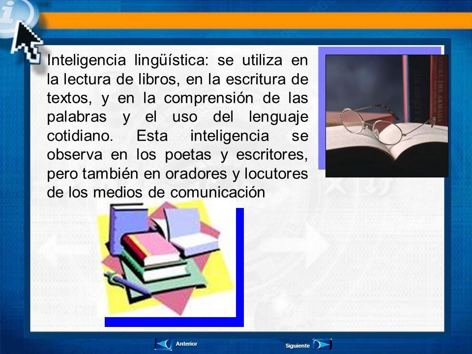 Inteligencia lingüística: se utiliza en la lectura de libros, en la escritura de textos, y en la comprensión de las palabras y el uso del lenguaje cotidiano. Esta inteligencia se observa en los poetas y escritores, pero también en oradores y locutores de los medios de comunicación