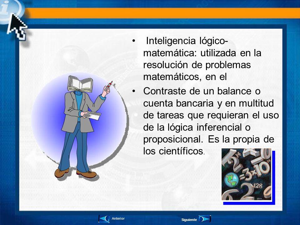 Inteligencia lógico-matemática: utilizada en la resolución de problemas matemáticos, en el